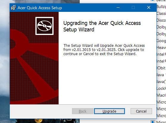 Acer Quick Access update missing — Acer Community