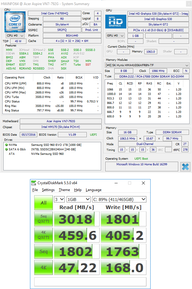 960 Evo NVMe M 2 SSD not recognized by VN7-792g with 1 09 BIOS