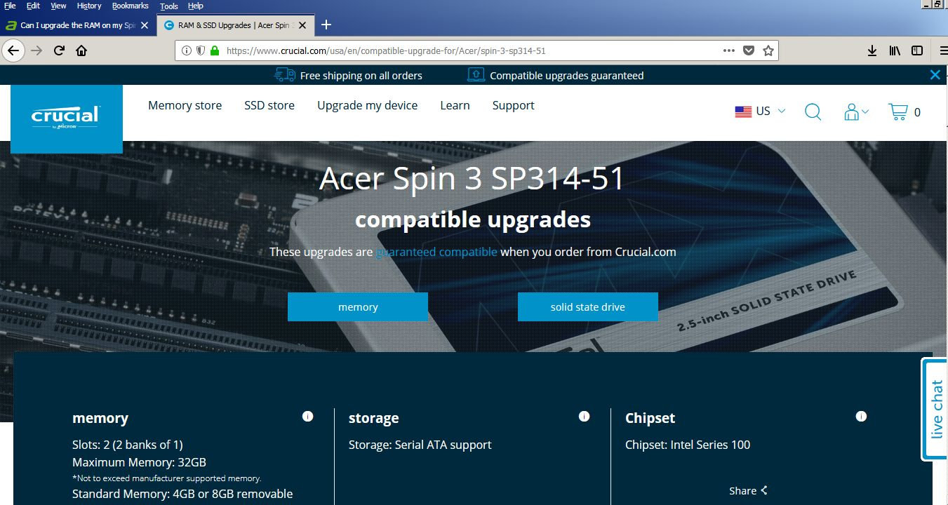 Can I upgrade the RAM on my Spin 3 - SP314-51-55PY or use
