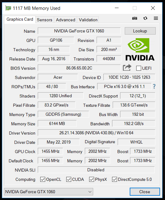 My graphics card is a GTX 1060 6GB but I only have 3GB of
