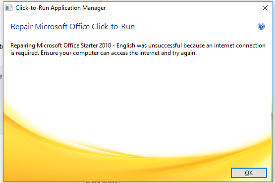 click to run configuration failure office starter 2010