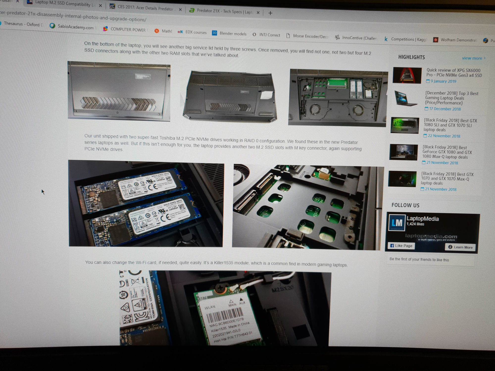 Acer Predator 21x - Installing M 2 NVMe SSD - Does not