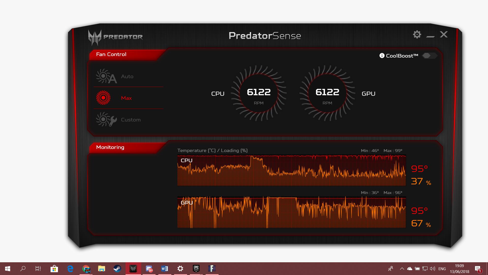 Predator Helios 300 gtx 1060 95-97 degrees Celsius on gaming