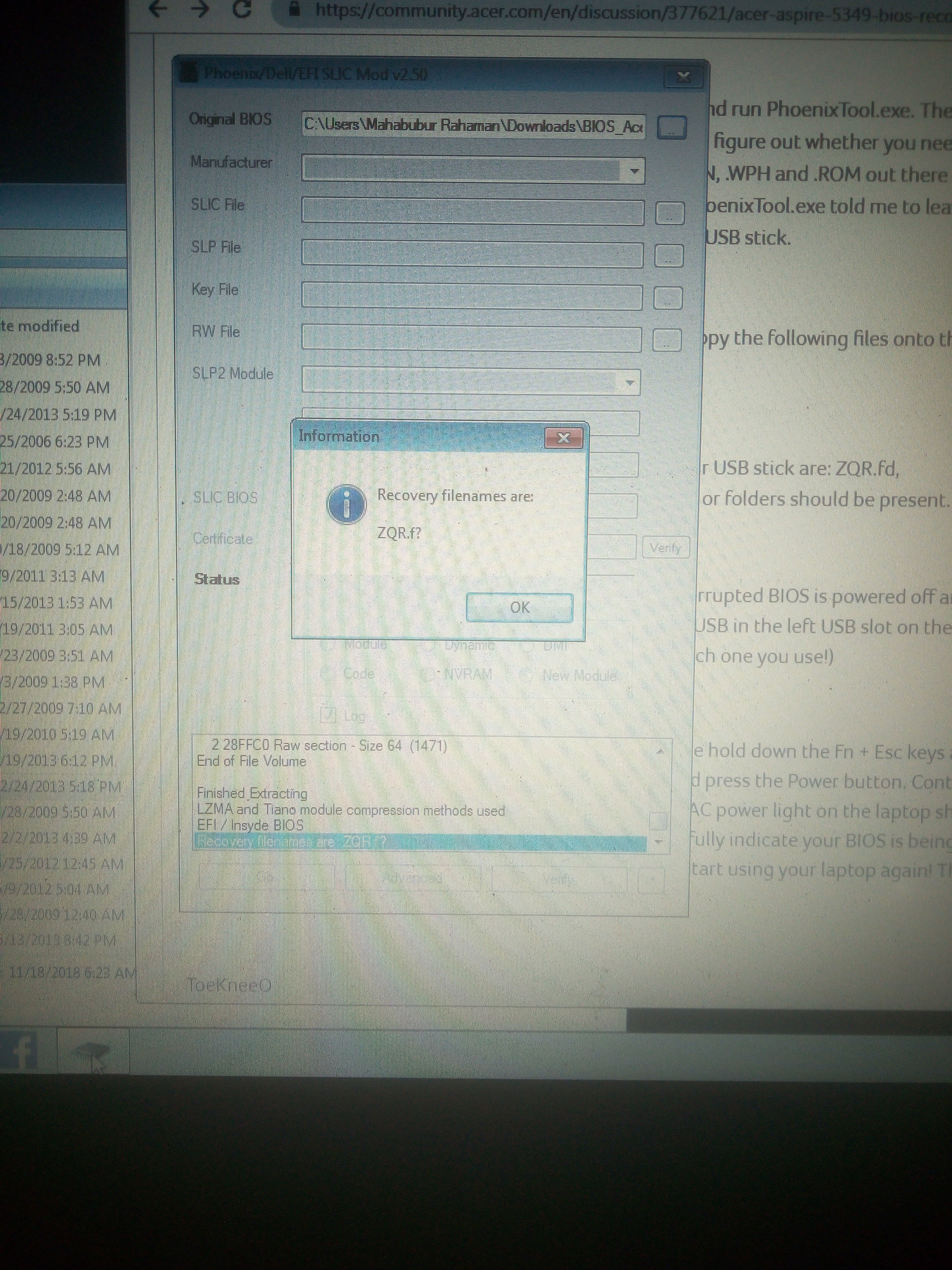 I follow what u shared about aspire 5349 bios recovery method  But i