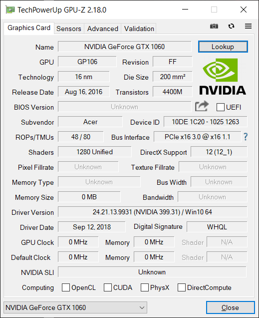 Predator Helios 300 PH315-51 - GeForce GTX 1060 will not
