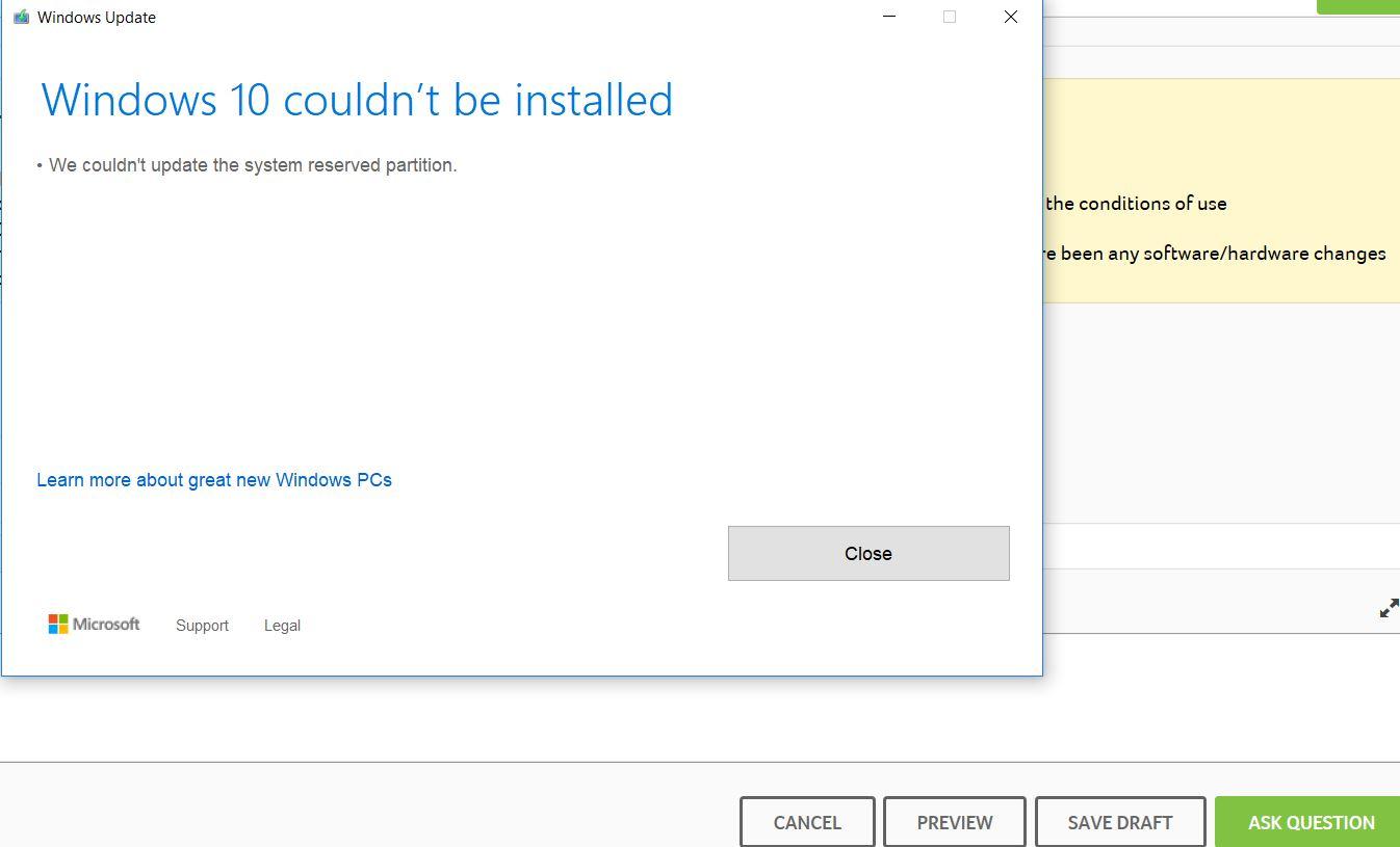 update windows 10 1809 error
