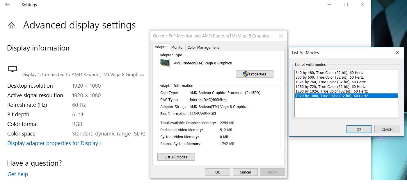 ACER NItro 5 AN515-42 AMD displays 512mb of RAM in Radeon