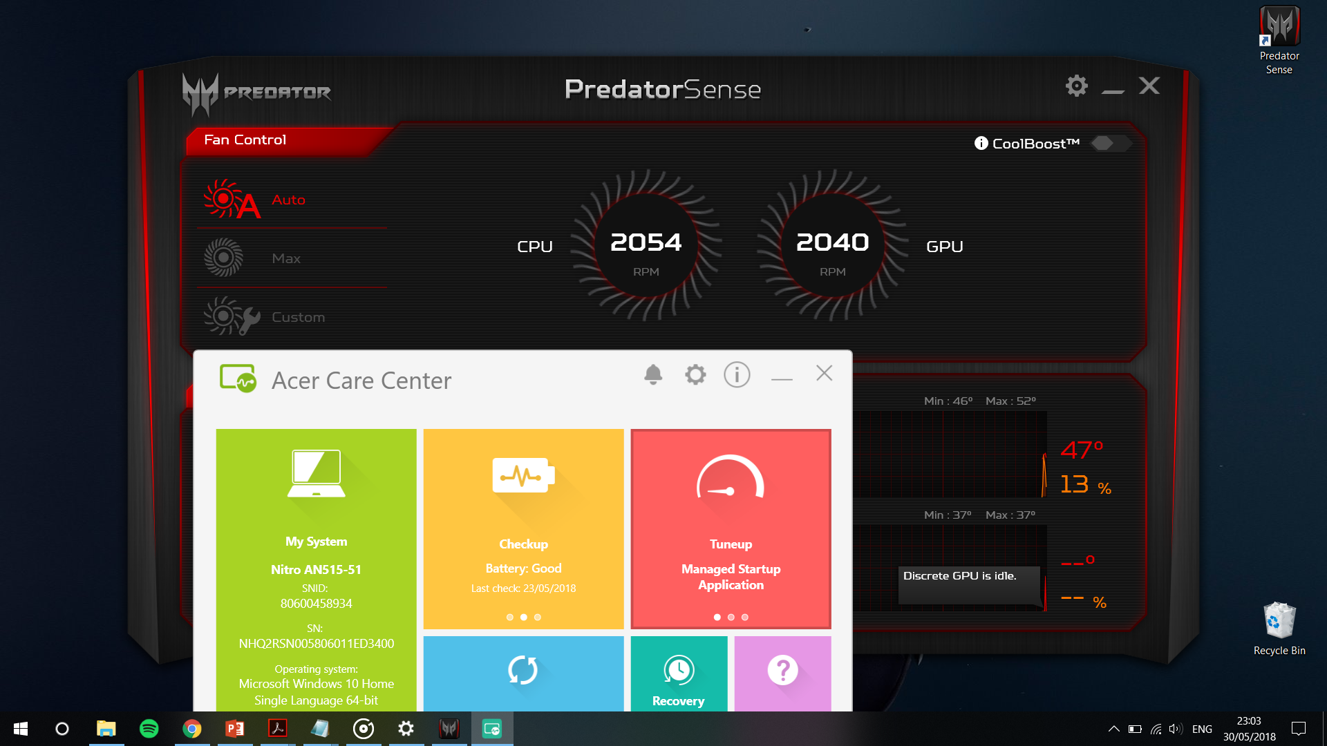 PredatorSense on acer Nitro5(AN515-51) -works perfectly