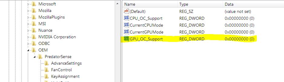 Request] Predator Sense registry entries — Acer Community