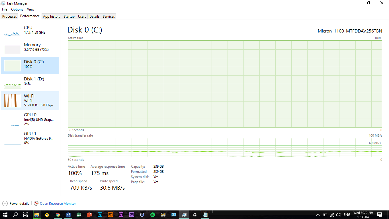 Acer Aspire A515-51G-51Z7 with 256GB SSD slow, at 30MB/s