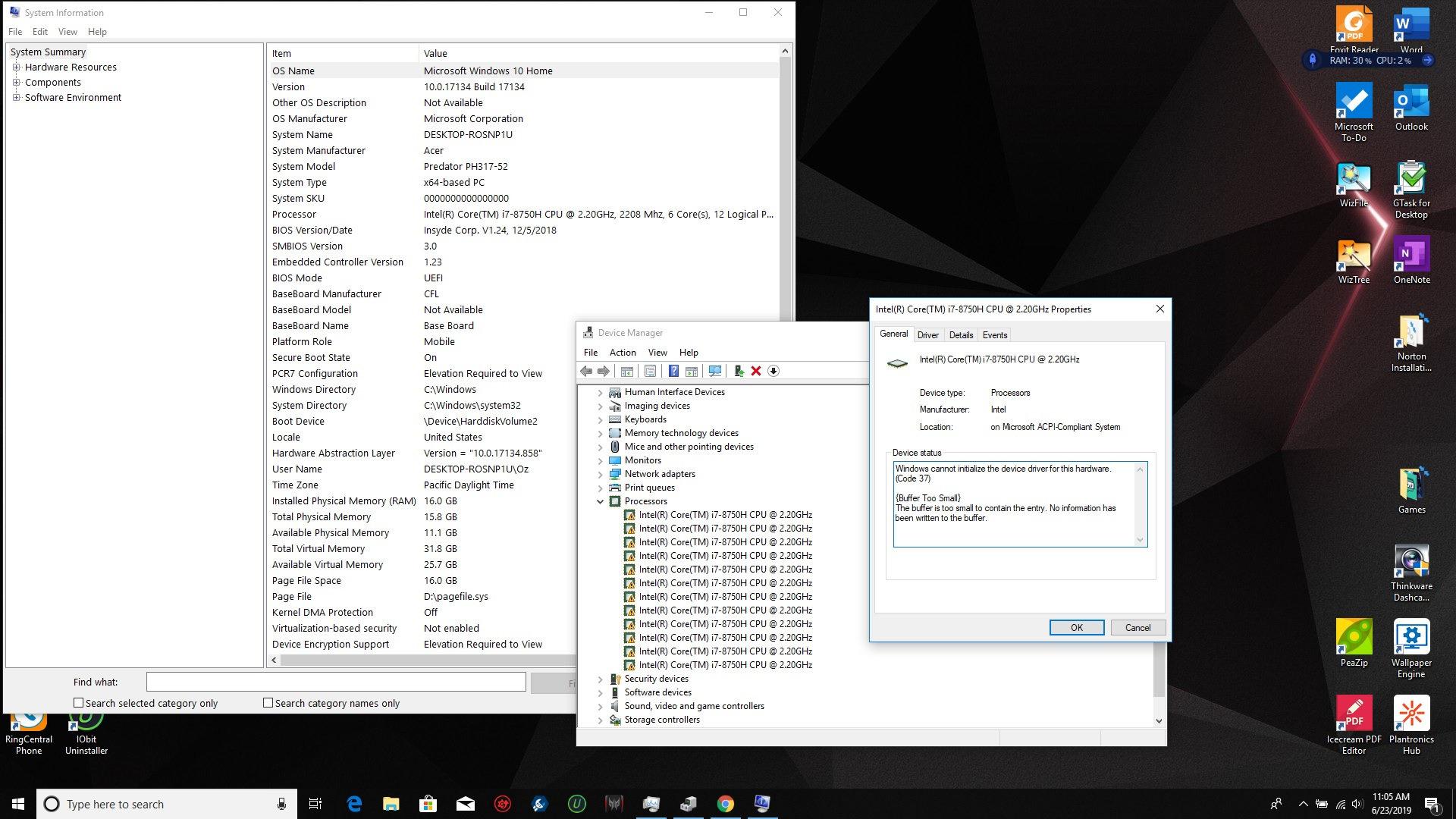 Acer Predator Helios 300 Ph317 52 Device Manager Error Code 37 On I7 Cpu Acer Community