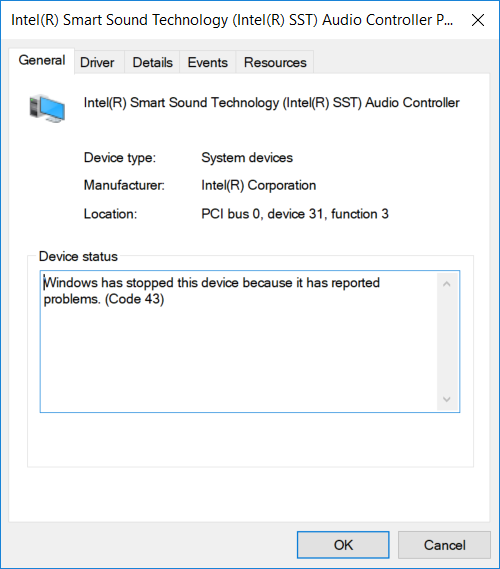 intel smart sound technology audio controller driver code 43