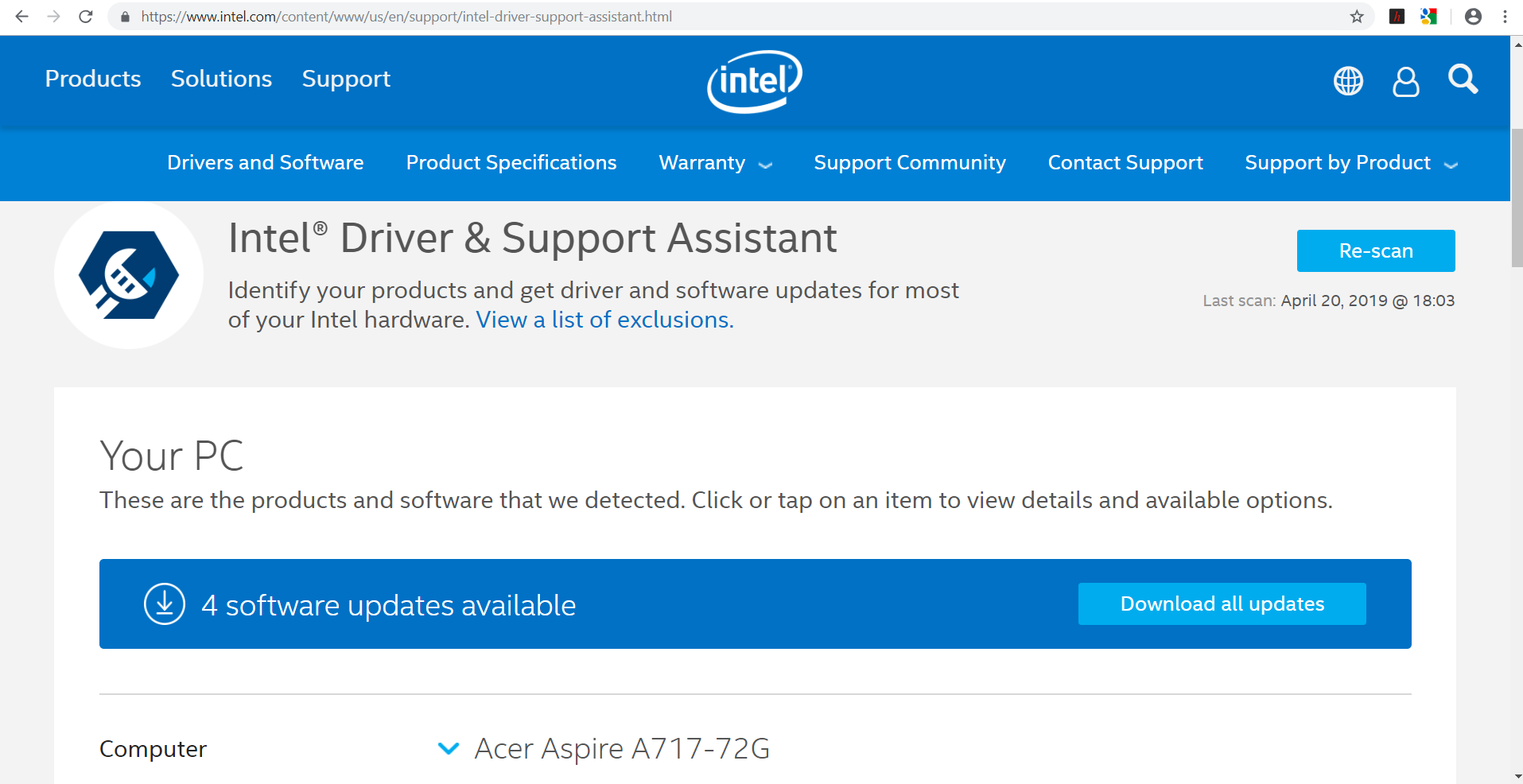 Updating drivers on A717-72G-700J — Acer Community