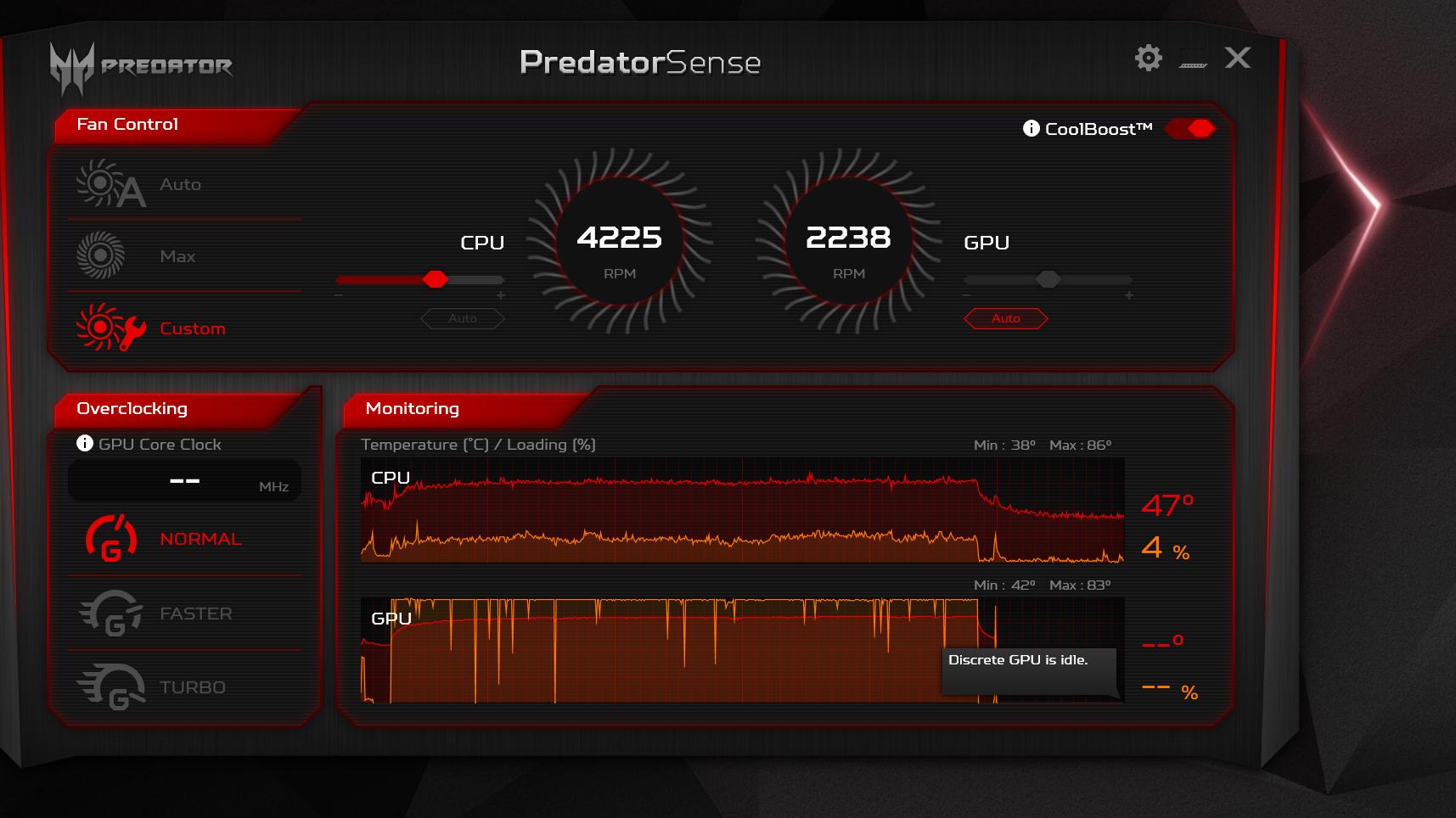 Predator Sense GPU Loading Graph reached 99% when playing