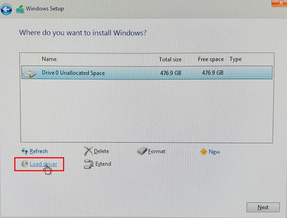 Page d'installation de Windows