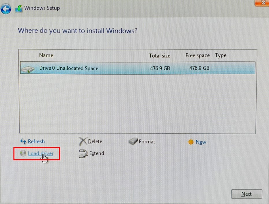 Windows Setup Install page