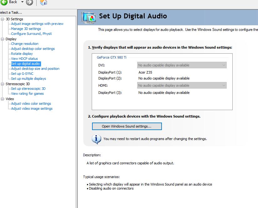 Predator z35 without audio — Acer Community