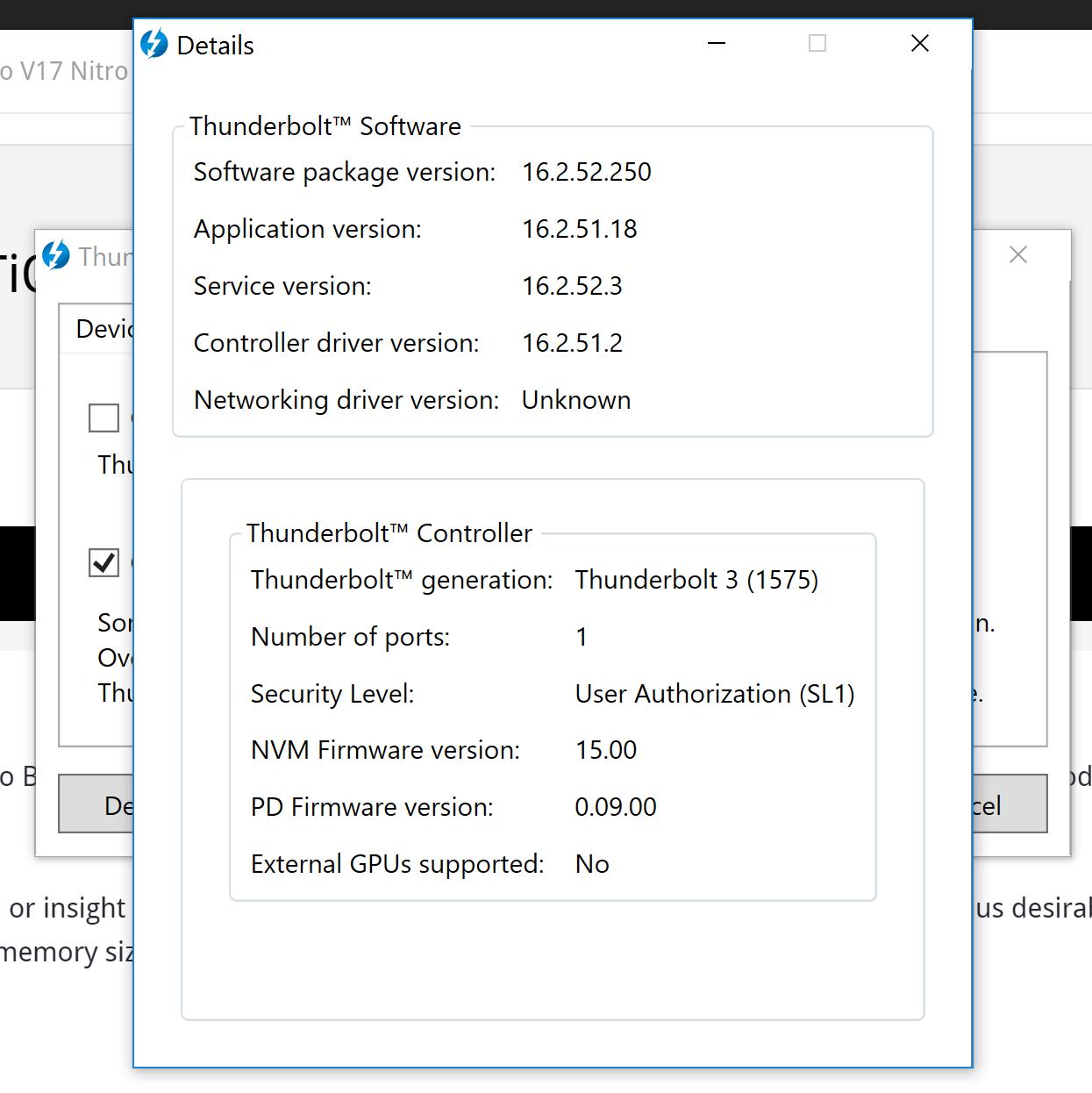 V15 Nitro TB3 eGPU possible? — Acer Community