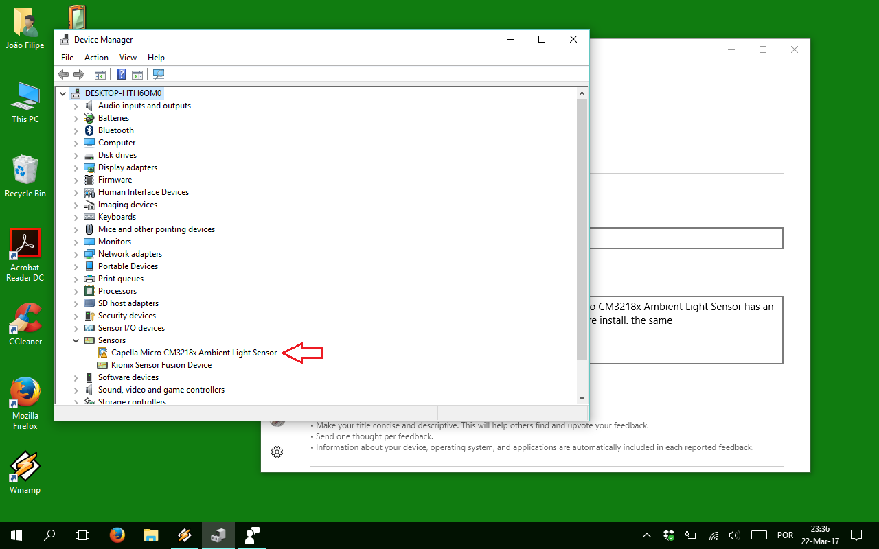 Problems with sensor's driver on windows 10x86 enterprise with the