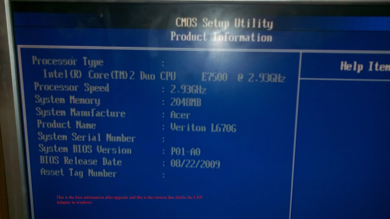 ACER VERITON L670G BIOS WINDOWS VISTA DRIVER DOWNLOAD