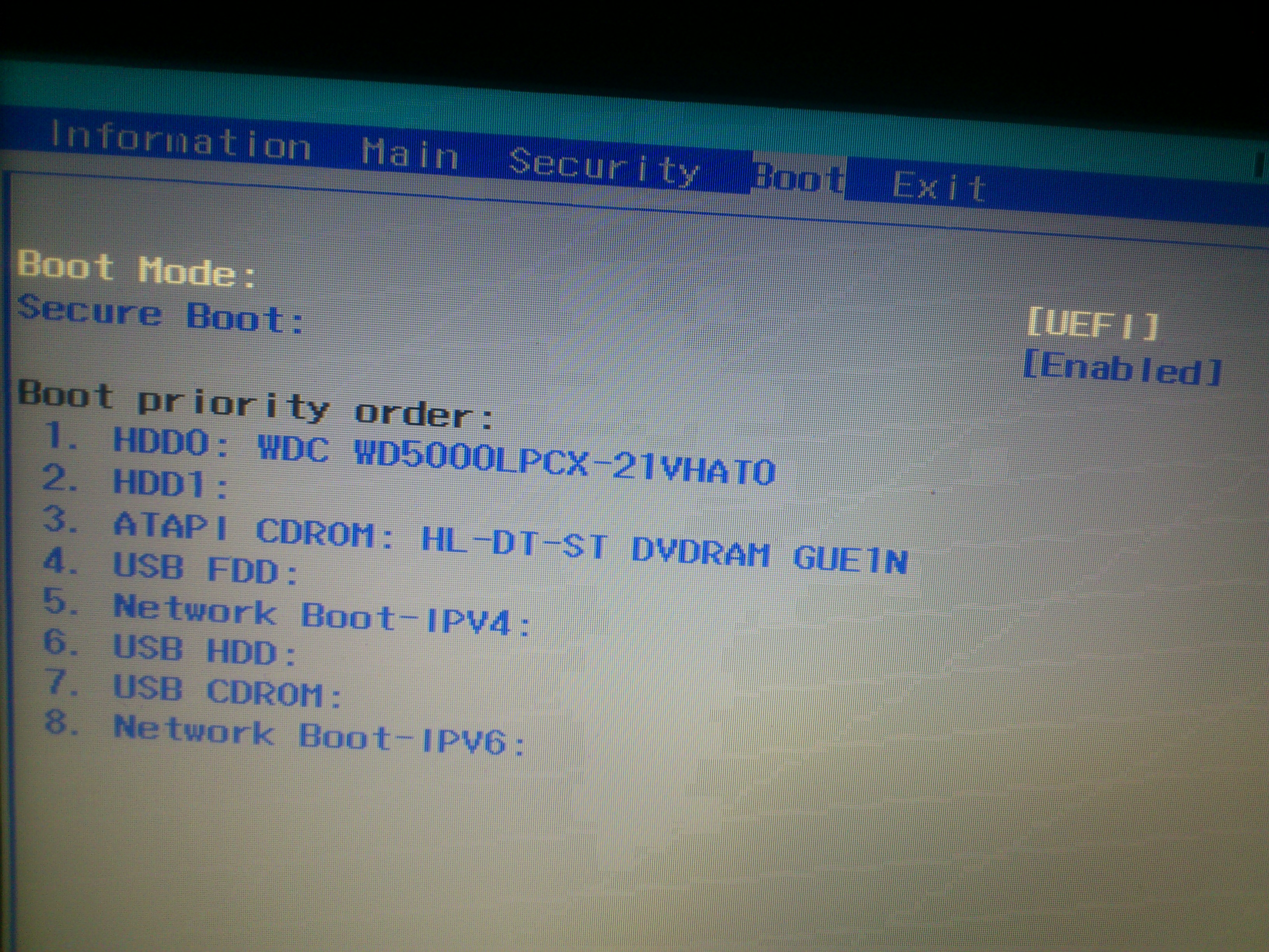 how can disable secure boot on acer laptop when it is