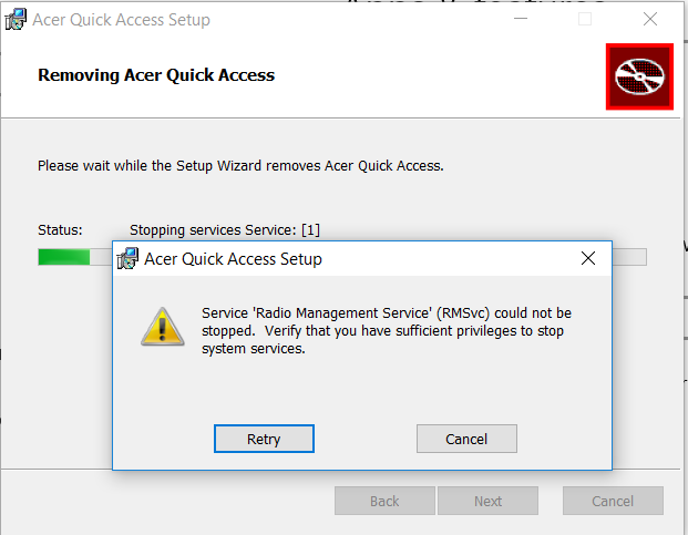 Unable to uninstall Acer Quick Access — Acer Community