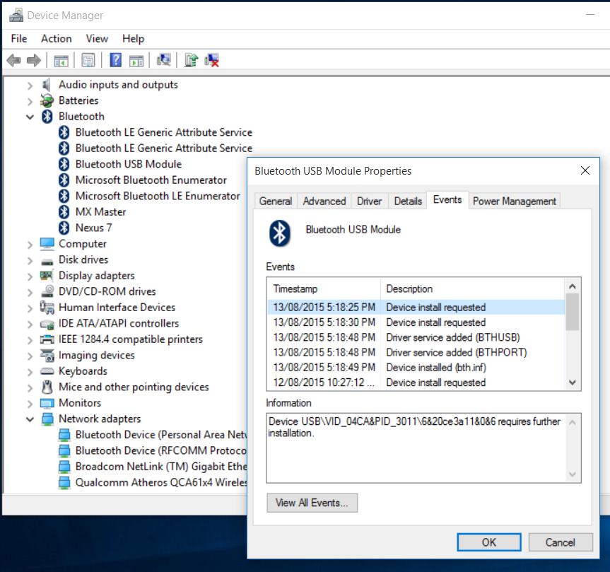 microsoft bluetooth enumerator windows 10