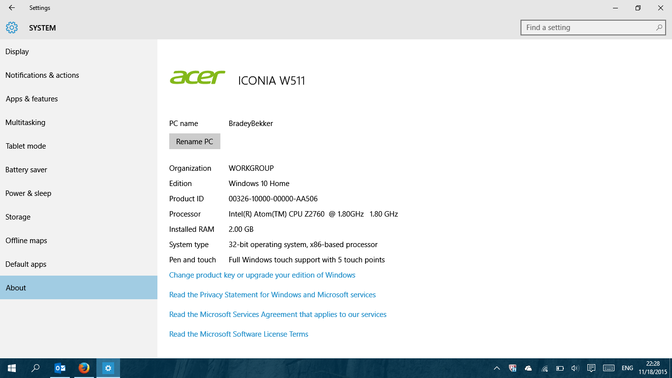 how to get into bios acer iconia w511
