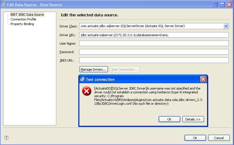BIRT Rpt Designer- not able to create datasource for SQL