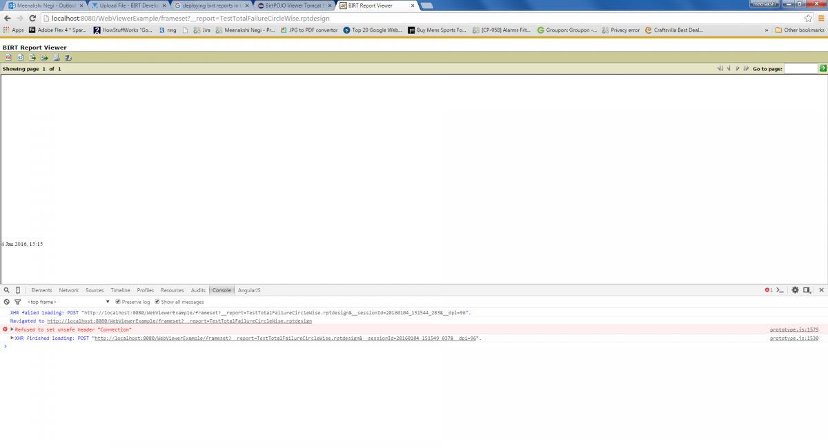 Not able to view my report design file through tomcat