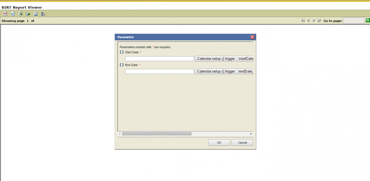 Birt Report Viewer datepicker parameter not showing