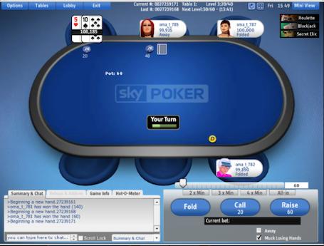 Sky Poker Flash table