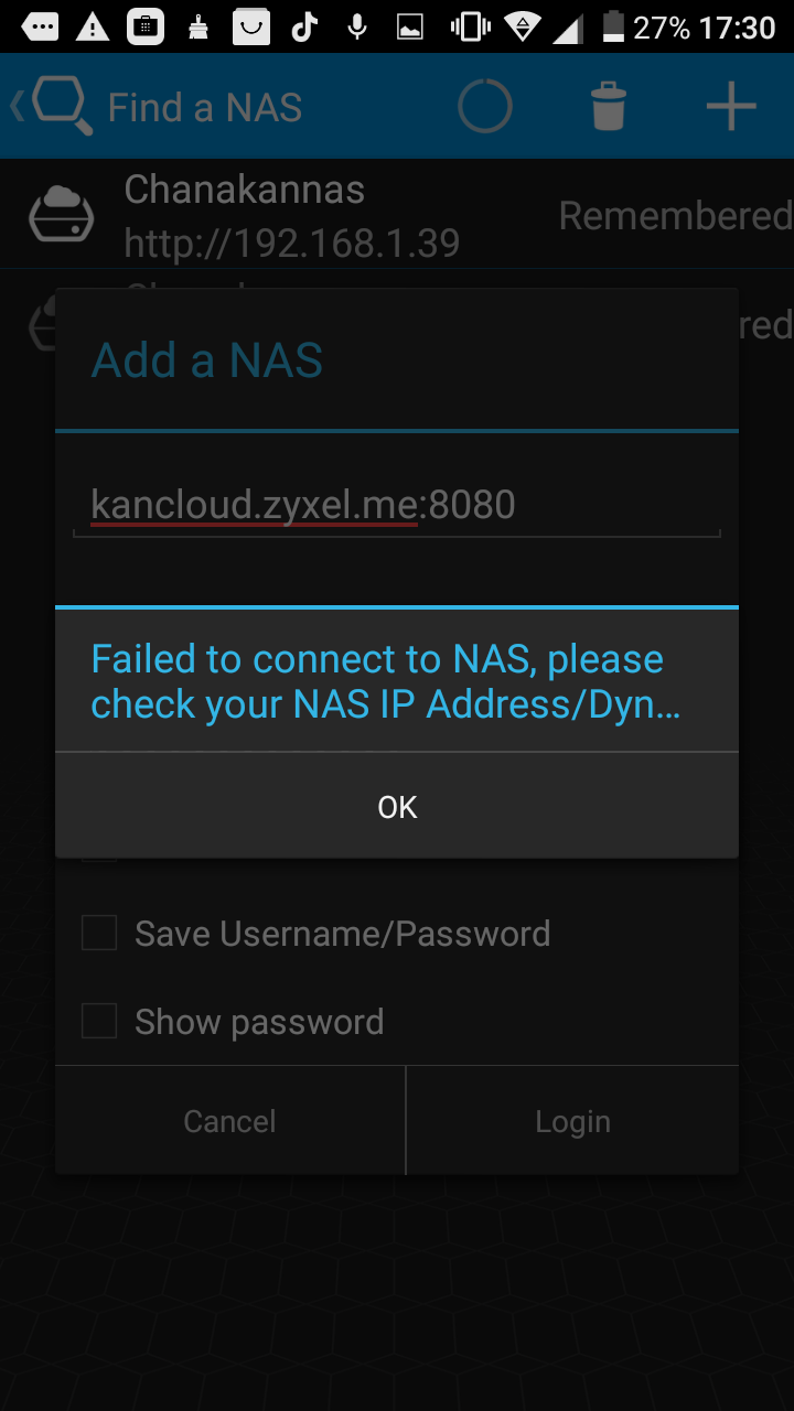 I can't connect to my NAS using zCloud — Zyxel Home Forum
