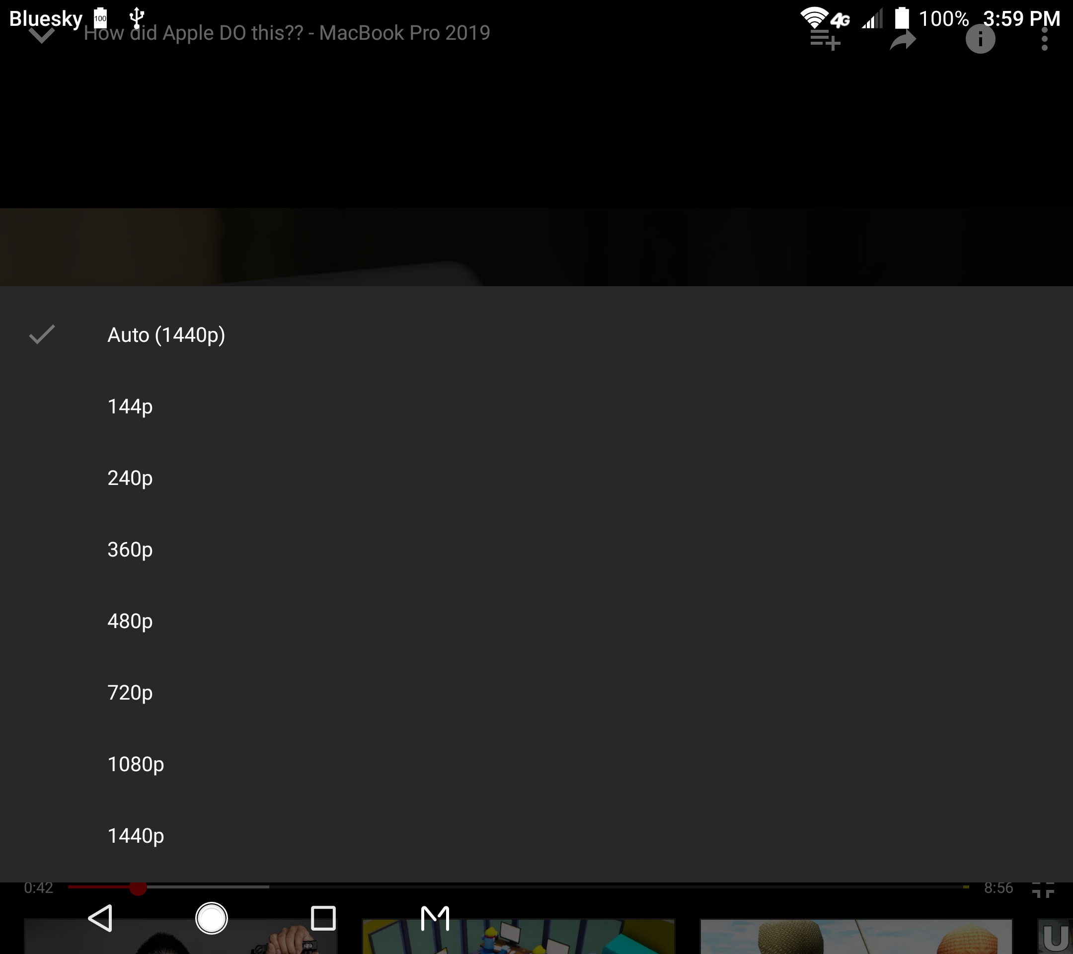 my axon m is now streaming 1440p video again from YouTube
