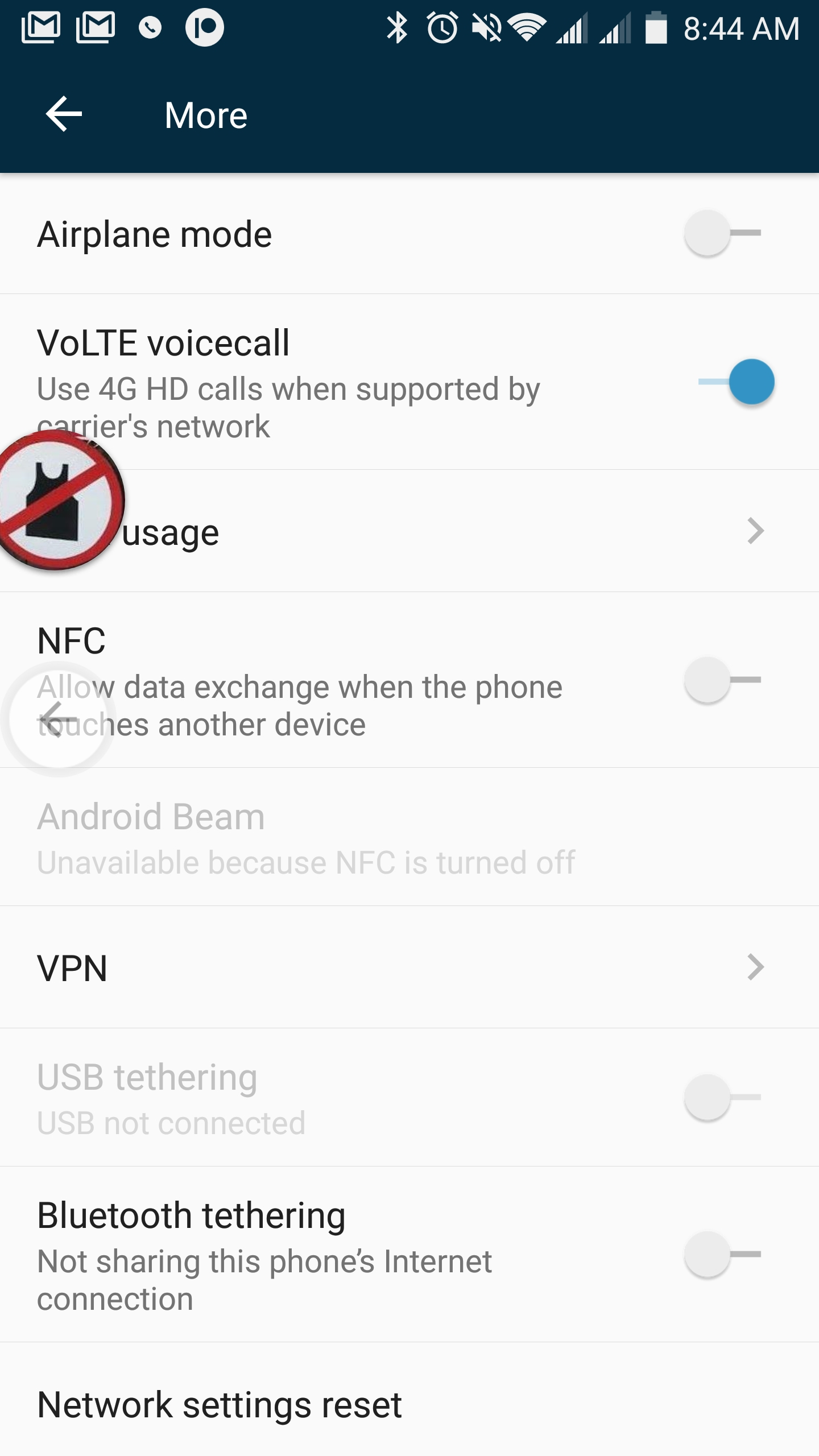 Why don't I see the wi-fi calling options on my Axon 7 — Z