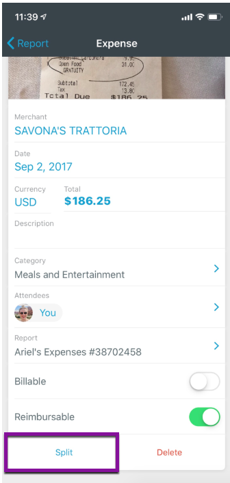 Image of an expense in the Expensify mobile app, with the Split button highlighted on the lower left.