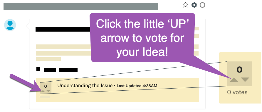 Image of a Community Idea showing the Voting mechanism and highlighting the Upvote