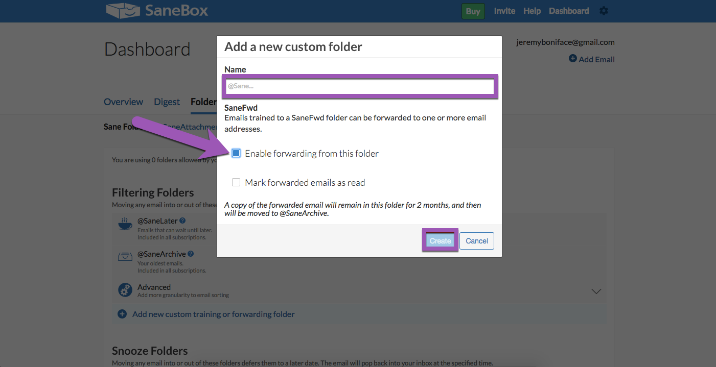 Image of SaneBox custom folder settings with 'Enable forwarding' highlighted, and the Name field and Create button highlighted
