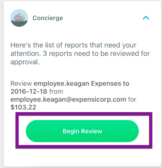 "Image showing an Inbox task on the Expensify mobile app, highlighting the Begin Review button, on the ""Here's the list of reports which require your attention"" task."
