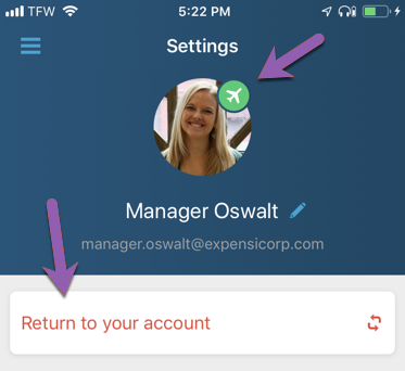 Image of the Settings menu in the Expensify mobile app, in Copilot mode, with the Copilot icon highlighted. The copilot icon is an aeroplane. The phrase 'Return to your account' is also highlighted.