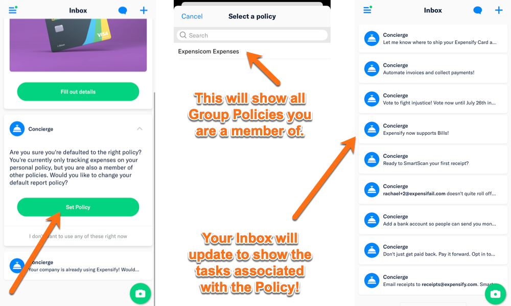 Screenshots of the mobile inbox highlighting the task for setting the default policy, plus where to choose the policy and how the mobile inbox will look after the default policy is set.