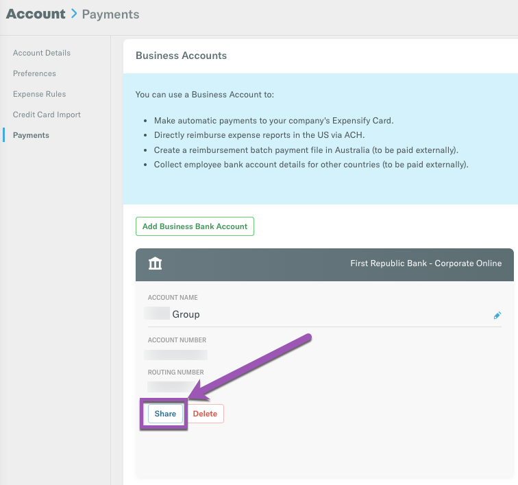 Image of Payments page, with the Business Bank Account Share button highlighted on the lower left of the bank account