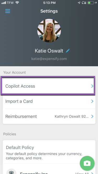 Image of the Settings menu in the Expensify mobile app, with the Copilot Access option highlighted at the top.