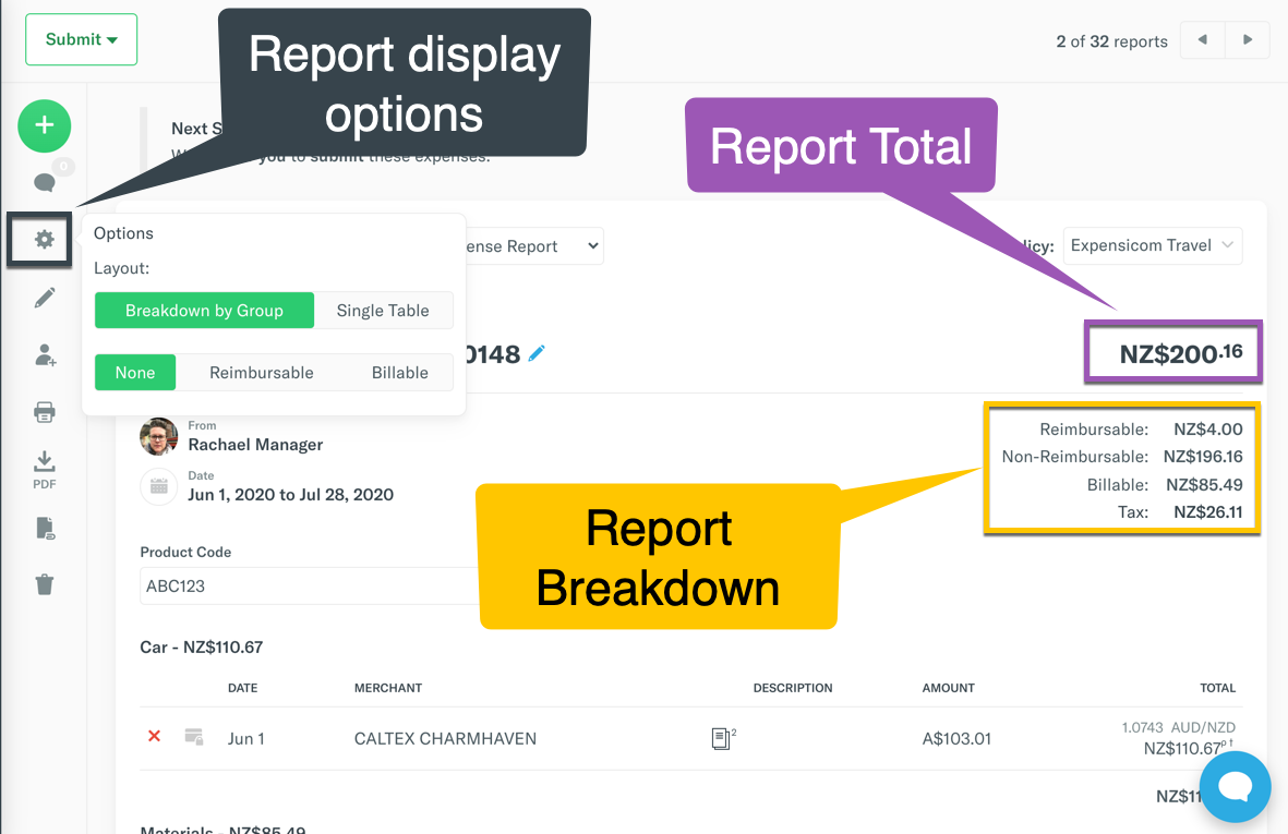 Image showing Report options cog button on the left menu of a report, and the different totals on the top right.