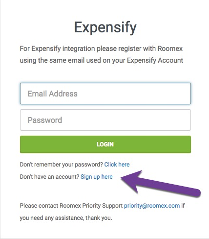 Image of Roomex/Expensify integration page with the 'Sign up here' option highlighted