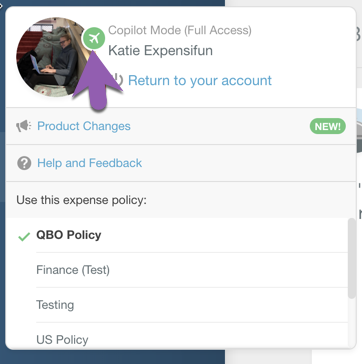 Image of the Account profile menu on the Expensify web app in Copilot mode, with the Copilot icon highlighted on the profile picture. This icon looks like an aeroplane.