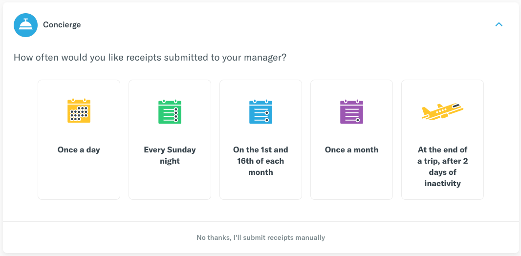 Image of the Expensify Inbox tasks which invites users to set a submission frequency for their reports