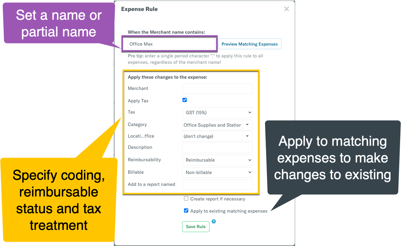 Image of Expense Rule setup, highlighting the Merchant Name to apply the rule to, the rule parameters, and how to apply it to existing expenses using the checkbox
