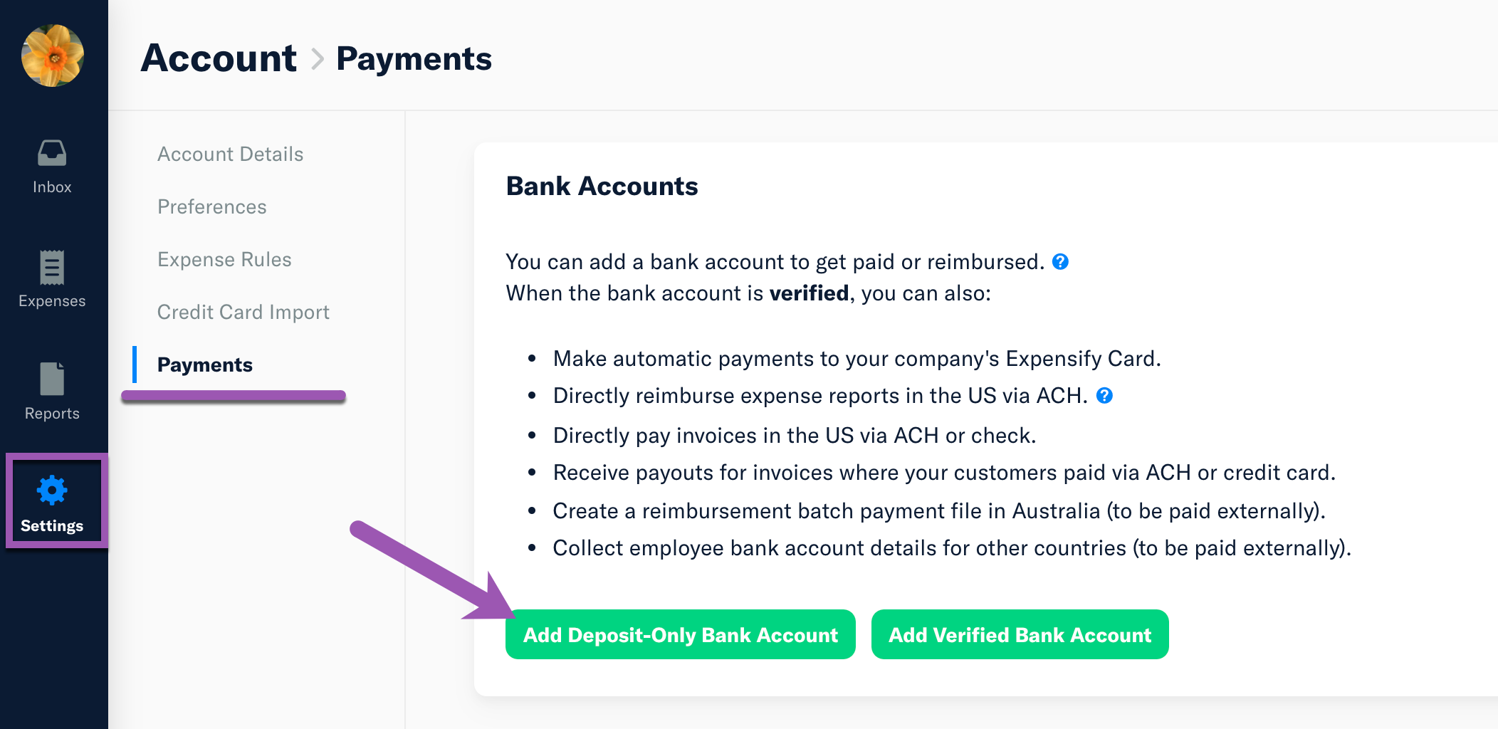 Account - Payments page with Add Deposit-only Bank Account highlighted on the left