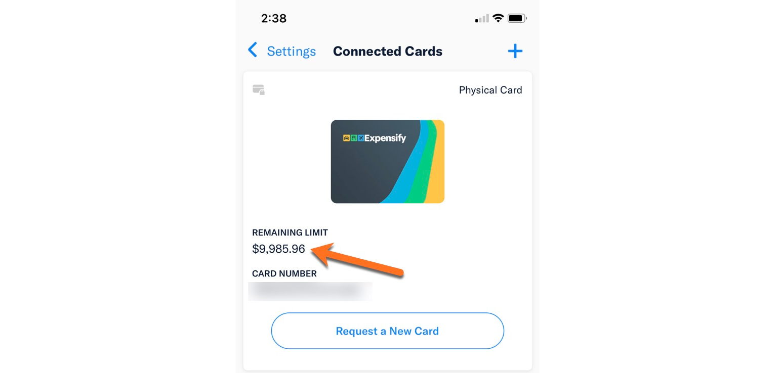 Screenshot of the Expensify Mobile App showing the Account > Credit Card Import page with the Smart Limit shown against the Expensify Card